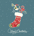 santa claus boot vintage christmas card vector image
