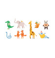 set childish cute animal characters design vector image vector image