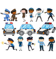 Set of police officers and cars vector image vector image
