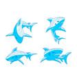shark predator logo design outline set vector image vector image