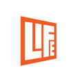square lettering life logo template with orange vector image