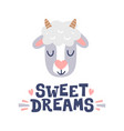 sweet dreams sheep head and hand drawn quote vector image vector image
