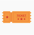 ticket icon in the flat style vector image vector image