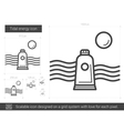 Tidal energy line icon vector image vector image