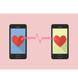 Two hearts icon was connected by two smartphones vector image vector image