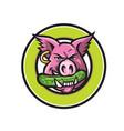 wild pig biting pickle circle mascot vector image