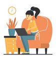 woman freelancer working at home isolated vector image vector image