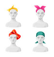 women bandanas set large coloured head vector image vector image