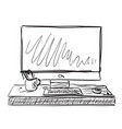 workplace with laptop notebook tablet sketch vector image vector image