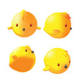 yellow cute little bird dimention vector image