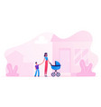 young woman with bastroller holding hand of vector image vector image