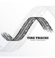 grunge black tire tracks on white background vector image