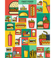 Set of retro icons with fast food burgers vector image