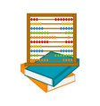 abacus on a pile of books icon vector image vector image