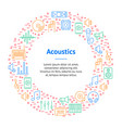 Acoustics and sound thin line banner card circle