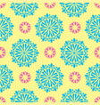 bright mandala pattern in yellow with green vector image vector image