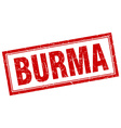 Burma red square grunge stamp on white vector image vector image