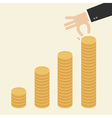 Business Hand put coins to stack of coins vector image
