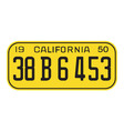 California 1950 license plate vector image vector image
