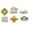 casino logos with lucky seven on slot machine and vector image vector image