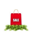Christmas Shopping Sale Bag with Fir Branches vector image vector image