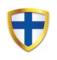 classic shield gold edge with finnish flag vector image vector image