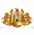 coat arms castle and lions 3d icon vector image vector image