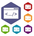Code window icons set vector image