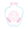Color line mason jar with heart sticker and