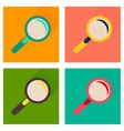 Concept of flat icons with long shadow magnifying vector image vector image