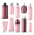 cosmetic bottles and cream conteiners mock up vector image