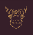 Creative emblem of the magic mirror with an owl vector image vector image