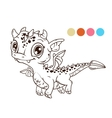 Cute cartoon flying baby dragon vector image