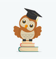 cute owl with books and graduate cap vector image
