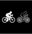cyclist on bike silhouette icon set white color vector image