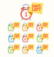 day left numbers color icon set vector image