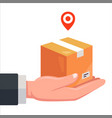 delivery parcels courier hold a cardboard vector image vector image