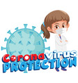 doctor with corona virus protection sign vector image vector image