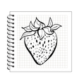 doodle strawberry on spiral notepad paper vector image vector image