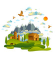 farm in scenic landscape of fields and trees vector image
