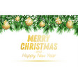 fir branch with golden christmas balls and snow vector image vector image