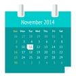 Flat calendar page for November 2014 vector image vector image