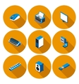 flat icons with accessories for personal computer vector image vector image