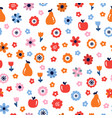 floral seamless pattern with flowers and fruits vector image vector image