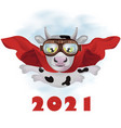 flying super-bull in a red cloak greeting new vector image