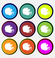 football helmet icon sign Nine multi colored round vector image vector image