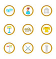 gallery icons set cartoon style vector image vector image