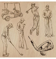 Golf and Golfers - Hand drawn vector image