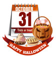 halloween calendar and pumpkin basket with candies vector image vector image