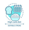 high carb diet vegan lifestyle concept icon vector image vector image